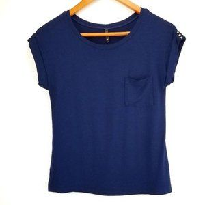 Lucy In The Sky Studded Cuff Sleeves Navy Top